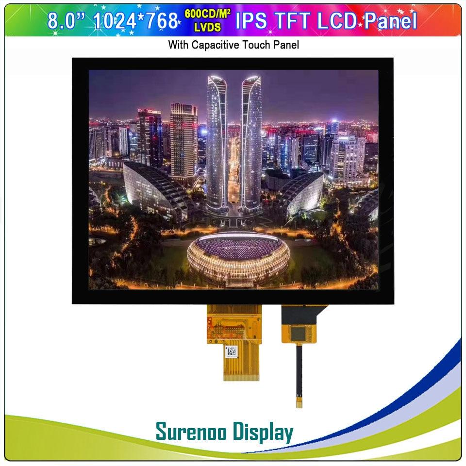 "8.0 ""polegadas 1024*768 43 ips lvds alto brilho tft lcd módulo display tela monitor & painel de toque capacitivo i2c"