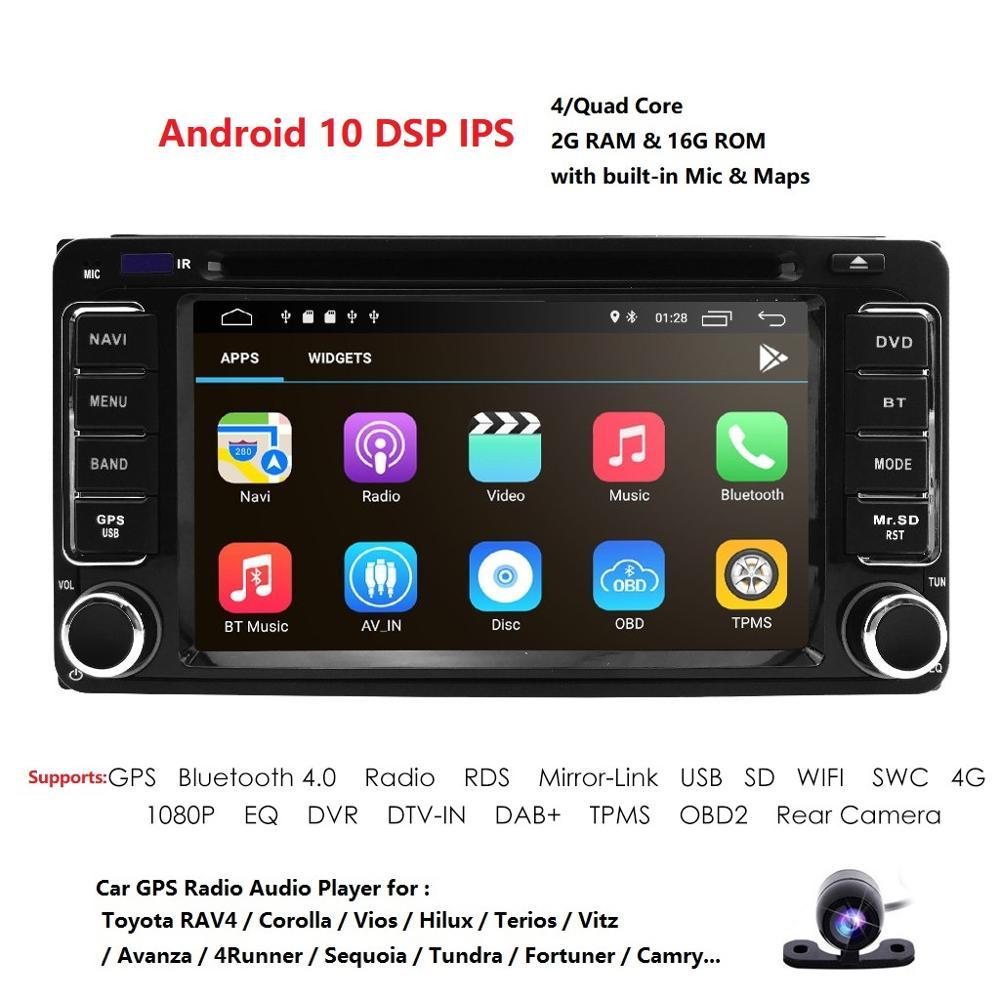 Android 10 Quad Core 4 CPU Universal 2 DIN coche Radio de navegación GPS estéreo para Toyota Corolla Camry Prado RAV4 Hilux VIOS DAB TPMS DVD