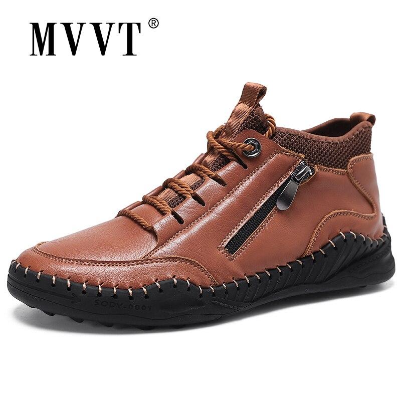 أحذية رياضية جلدية للرجال ، أحذية رياضية شتوية مريحة ، أحذية بدون كعب من الجلد المنقسمة