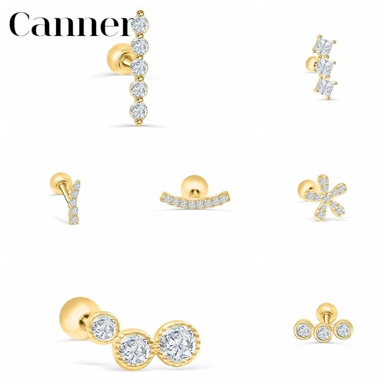 canner-1-шт-925-пробы-серебряные-серьги-гвоздики-helix-daisy-cubic-cz-серьги-для-пирсинга-для-женщин-ювелирные-украшения-сделай-сам-aretes-w4