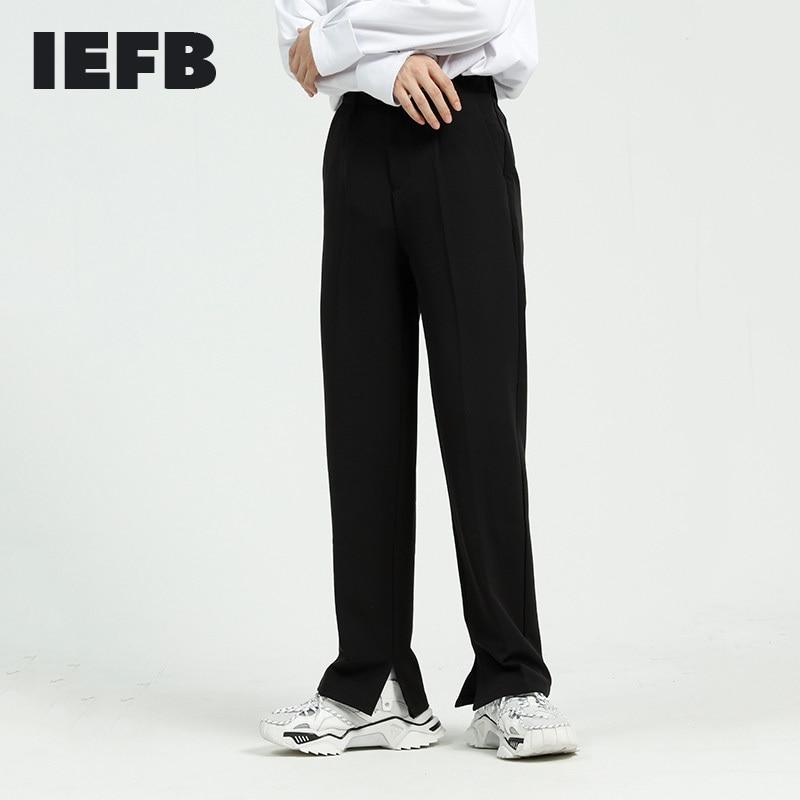 IEFB ملابس رجالية جديدة انقسام قيعان السببية السراويل 2021 الخريف جديد مستقيم السراويل الكورية الظهر مرونة الخصر دعوى السراويل 9Y5961
