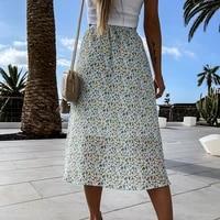 new spring 2021 casual women midi skirt a line floral printed high waist boho skirt elagant vintage lady summer
