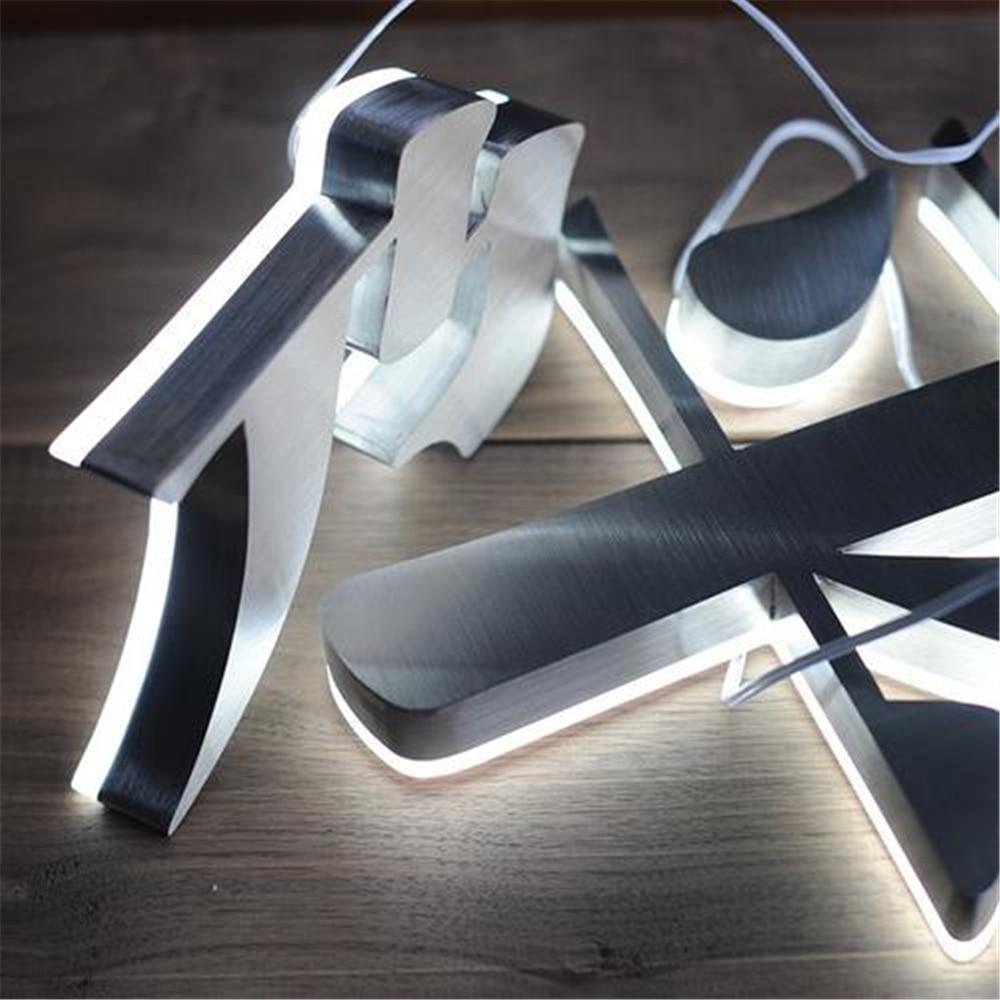 Custom Made Stainless Steel Back Lighted LED Letters for Shopfront, Metal Shop Name Signages, Backlit Store Signs Logo