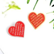 2020 coeur rouge lettres émail épingles nont aucune idée de ce que je fais mais très bien Badge Denim chemise épinglette pour les femmes