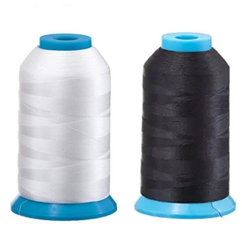 Juego de 2 hilos de bobina enorme para máquina de coser y bordar 1 negro y 1 blanco 5500 yardas cada uno-poliéster