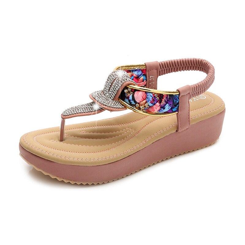 ---Rhinestone Ladies Sandals Summer Woman Shoes Bohemian Women Sandals Fashion Flip Flops Women Casual Sandals Flat Shoes