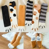 new fashion in tube sock for women cats paw cute funny kawaii floor sox for girls thick and warm in winter