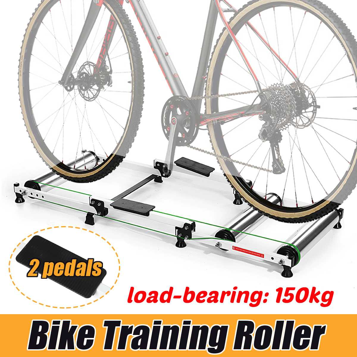 Bike Rollers Indoor Exercise Bicycle Roller Trainer Stand Aluminum MTB Road Bicycle Home Cycling Training For 16-29 MTB Bike