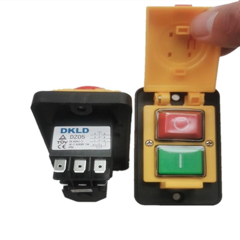 DKLD DZ05 7pins IP55 380VAC 10A مقاوم للماء تشغيل/إيقاف الملف اللولبي الكهرومغناطيسية الضغط على زر مفاتيح آلة بدء Swit