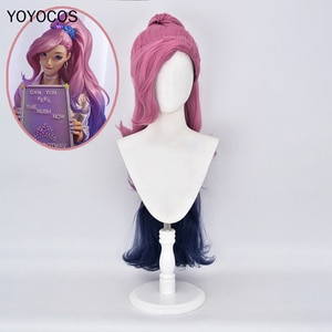 KDA Seraphine Cosplay Wig 2020 New Game Cosplay Gradient Ramp Horsetail Clip Wig Halloween Heat Resistant Synthetic Hair+Hairnet