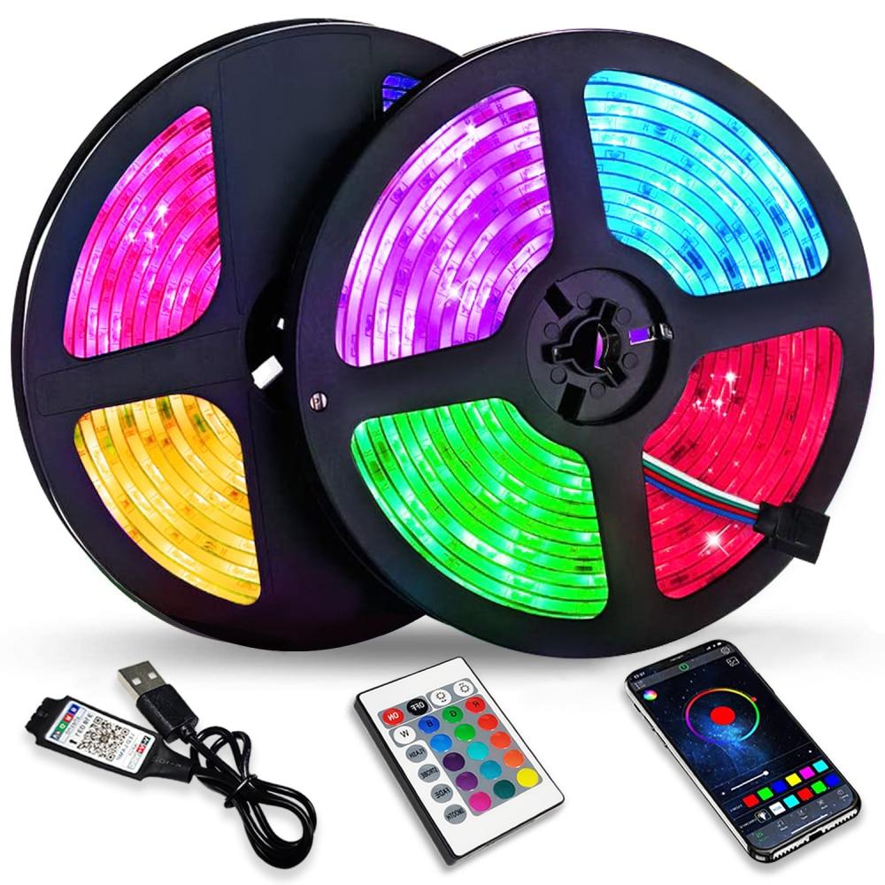 LED Luces de tira RGB 2835 5V Control Bluetooth USB Lámpara Flexible...