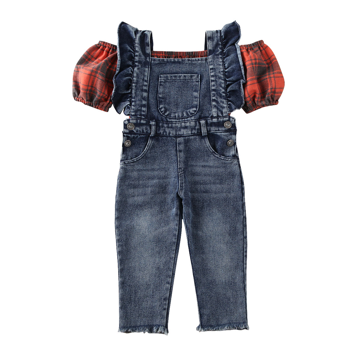Dulce bebé chica chico globo manga Plaid chaleco Tops Denim babero pantalones de moda Niñas Ropa conjunto
