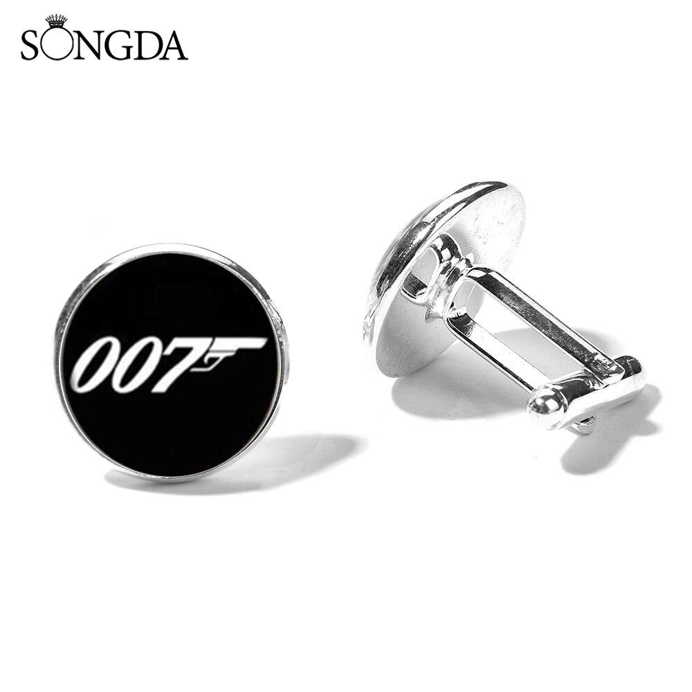Nuevo gemelos James Bond 007 para hombre, gemelos de boda de negocios hechos a mano, foto de cristal, brazalete, joyería, regalo para el marido
