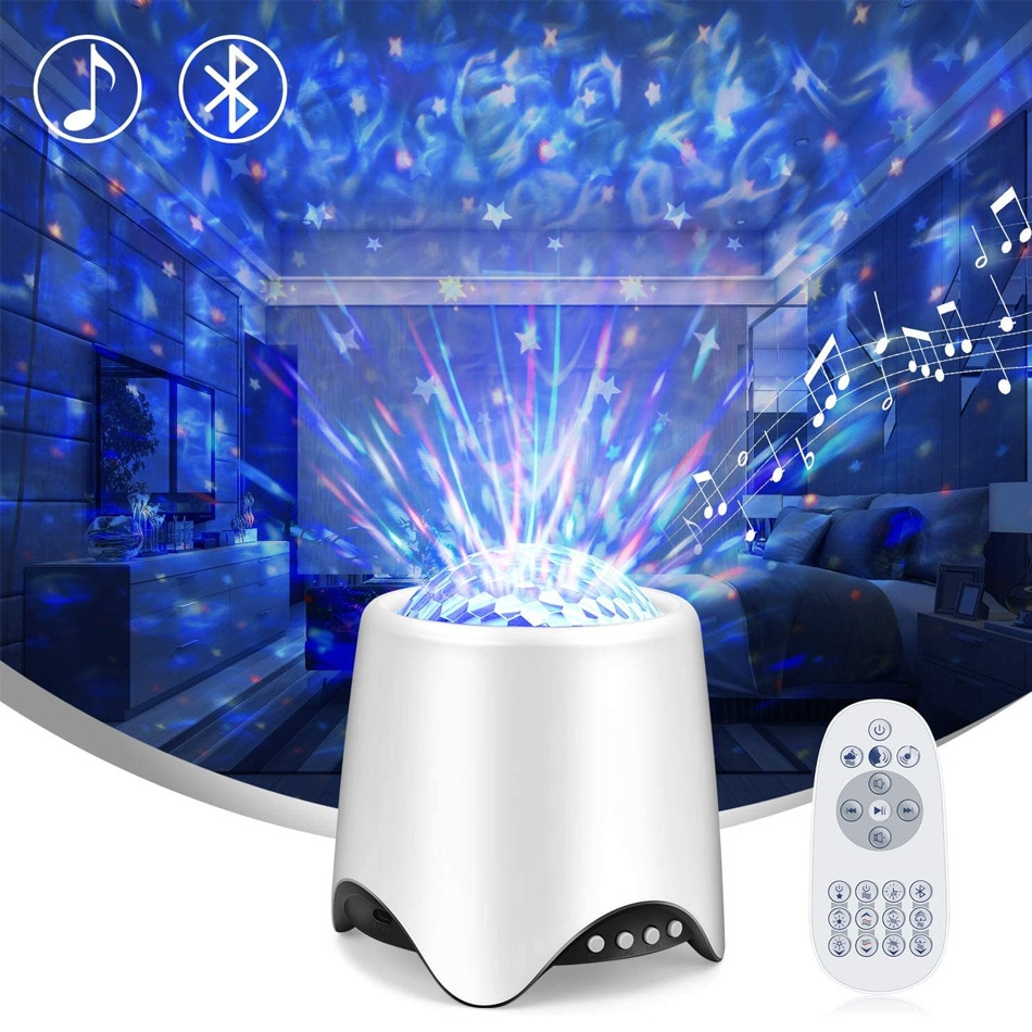 14 Color Starry Sky Galaxy Projector Nightlight Blueteeth USB Music Player Star Night Light Starry Sky Flame Pattern Light Gifts