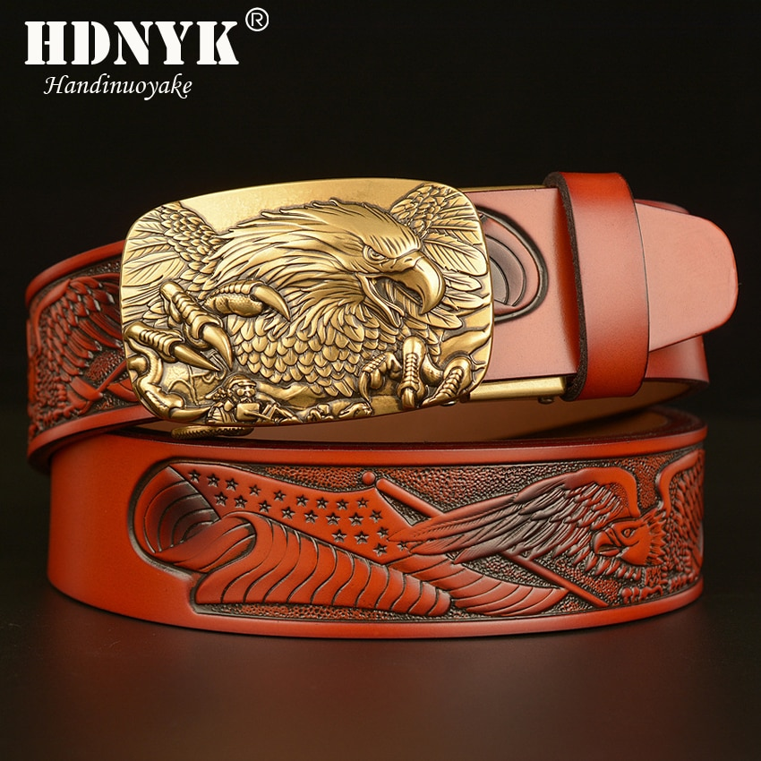 New Style Eagles Spread Their Wings Buckle Belt Fly Eagle Pattern Genuine Leather Belts for Men  Leisure Waistband Strap fashionable rhombic pattern buckle faux leather belt for men