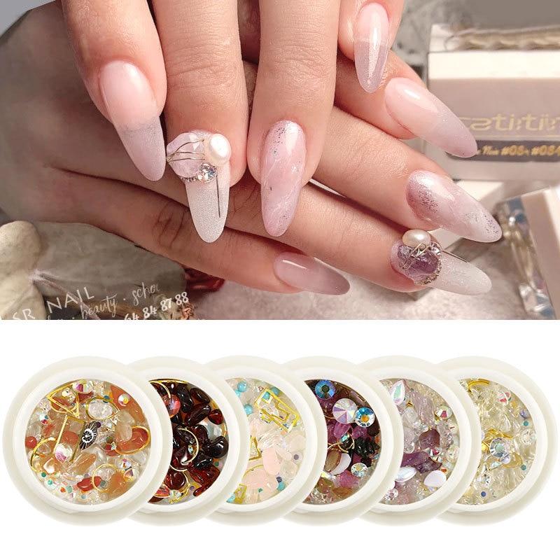 Adornos de decoración de uñas de color rojo en forma de perla con diamantes en forma de parte inferior plana de Royal Storm 18, accesorios de diamantes mezclados para decoración de uñas