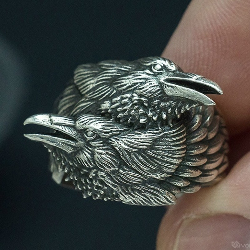 Anillo de cuervo de Odin gótico mito Huginn y anillos de Muninn Amuleto nórdico joyería de Skandinavien Estilo vikingo regalo para él
