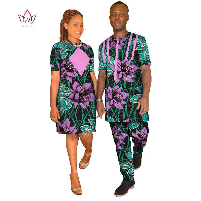 طقم ملابس زوجين Dashiki ، مقاس كبير ، ياقة دائرية ، أكمام قصيرة ، طباعة أفريقية ، شمع قطني ، WYQ09