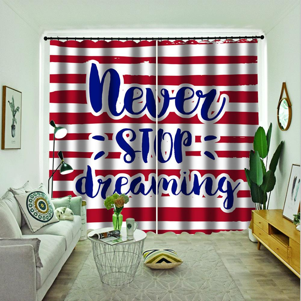 Cortinas personalizadas de rayas rojas, cortinas 3d, nuevas ventanas, balcón, cortinas opacas gruesas para parabrisas
