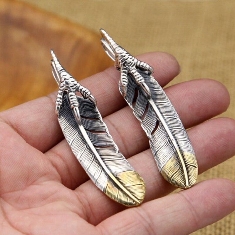 S925 Sterling Silber Schmuck Vintage Thai Silber Persönlichkeit Handgemachte Adler Feder Anhänger