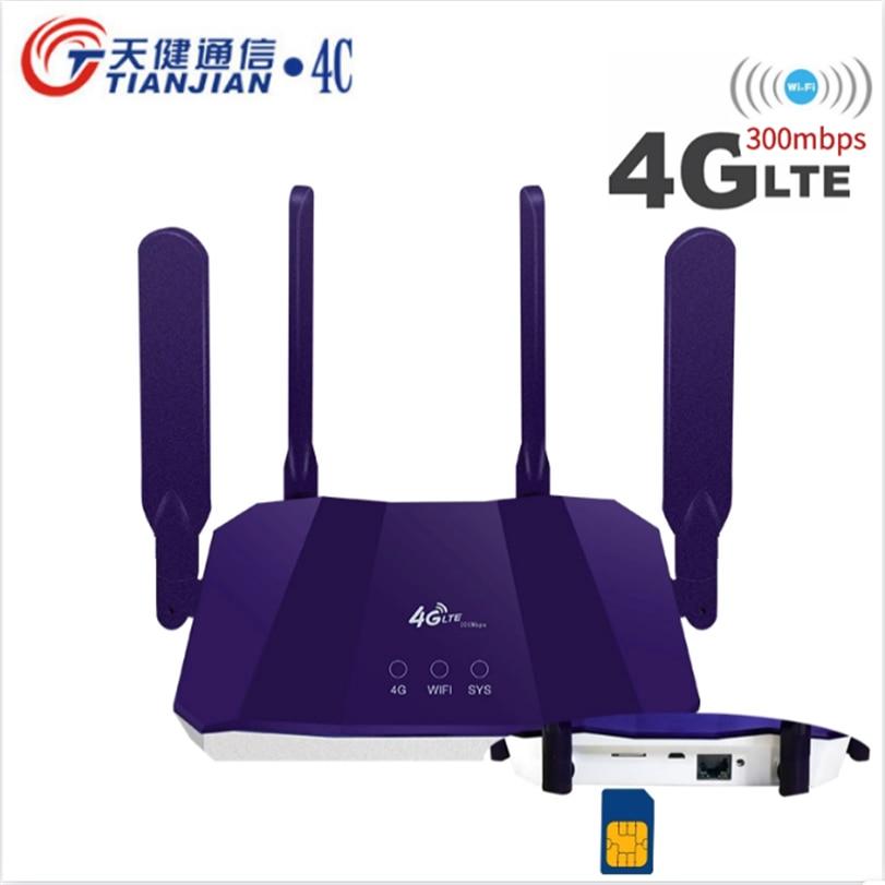 300Mbps 3G 4G موزع إنترنت واي فاي لاسلكي VPN مودم 4G بطاقة Sim في الهواء الطلق LTE واي فاي جسر 2 هوائيات خارجية الشبكات WAN/LAN الموجهات