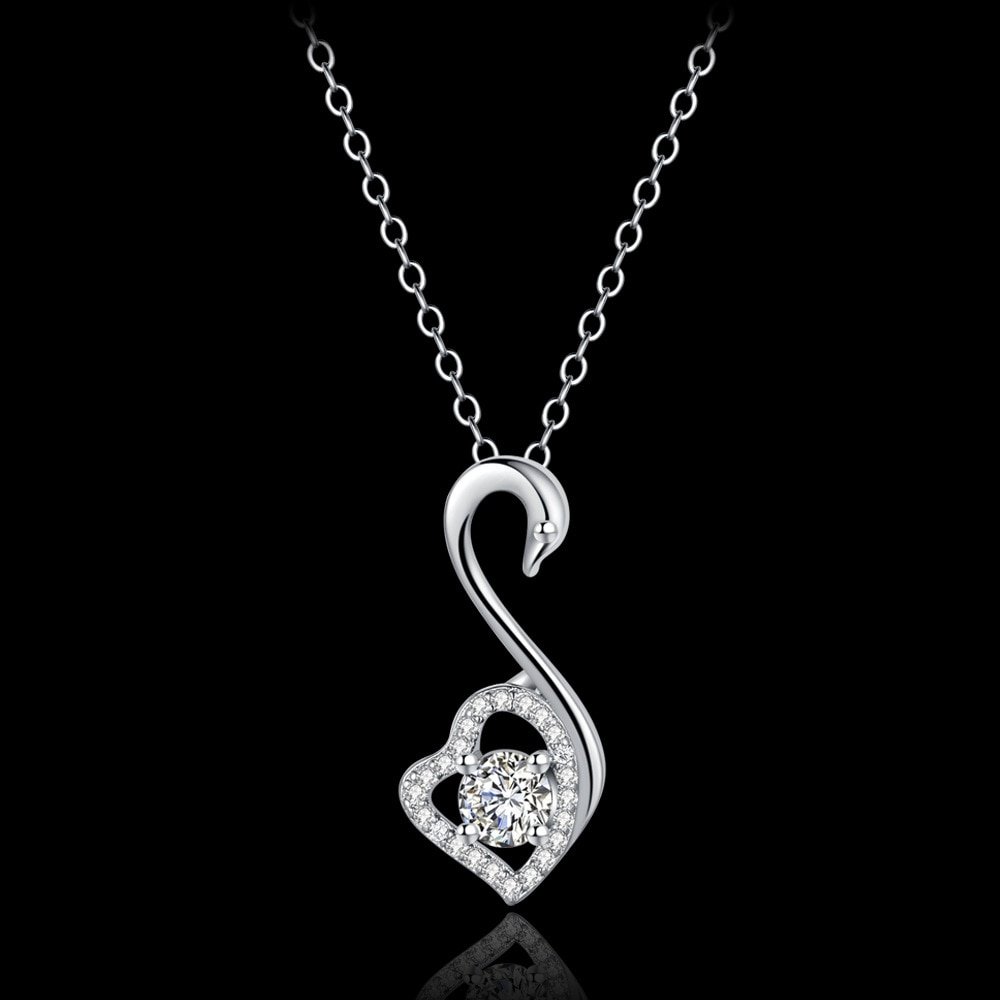 925 sterling silver necklace Swan female collarbone silver chain Christmas gift Micro Inlay cubic zirconia necklace for women 20 bff infinity necklace 925 sterling silver aaa cubic zirconia cyrstal necklace always best friend sister forever gift p6093b