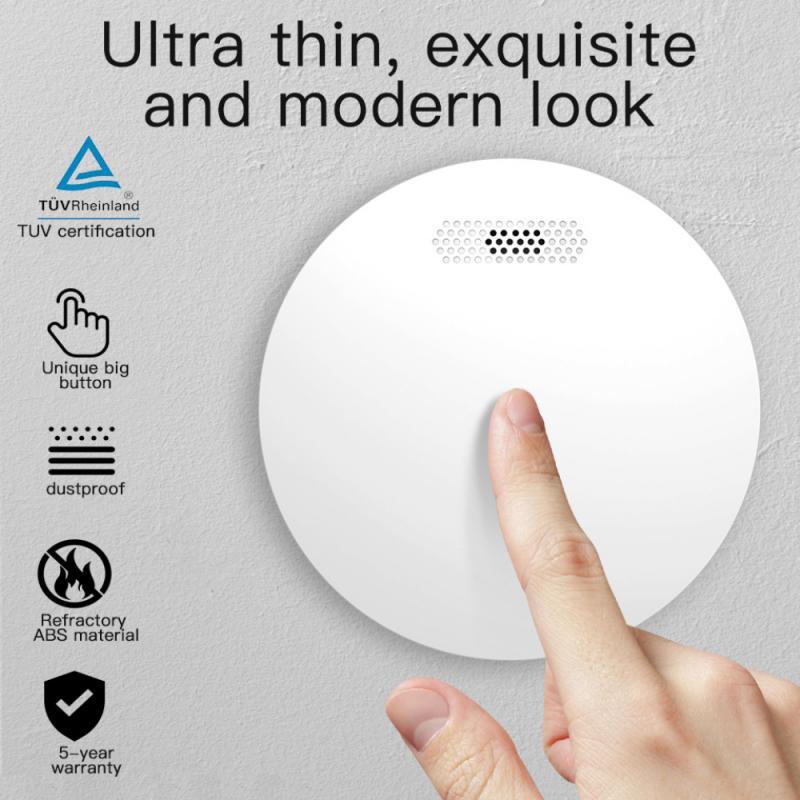 WIFI Smoke Detector Tuya Smart Life APP Control Rauchmelder Home Security Fire Alarm Ultra-Thin Alarm Sensor LED Indicator Flash