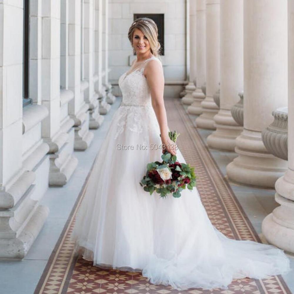 Elegant Bohemian Wedding Dresses with Beaded Sash Sheer Scoop Neckline Off Shoulder Sleeveless Bride Dress A Line Wedding Gowns