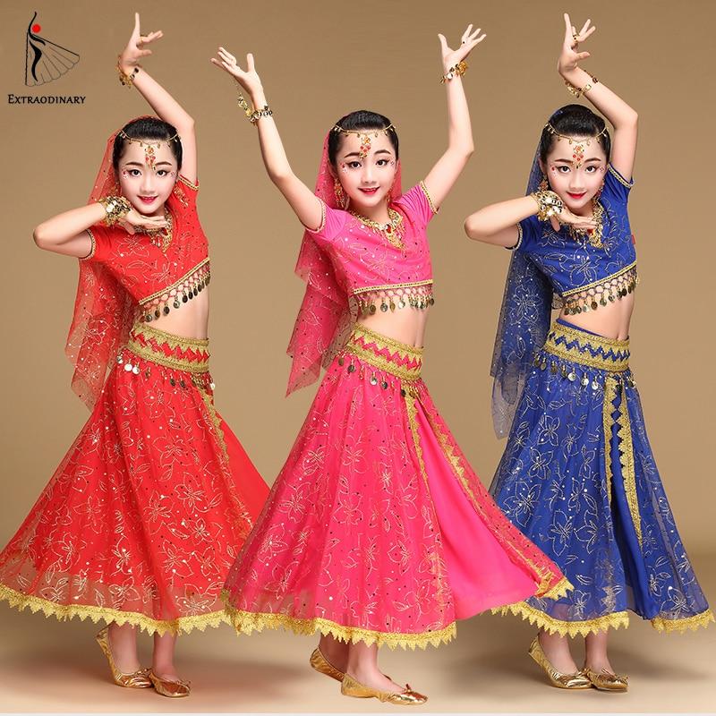 Костюм для танца живота, детский костюм для танца в Болливуде, детские платья в индийском стиле, 5 шт. (топ с вуалью и поясом)