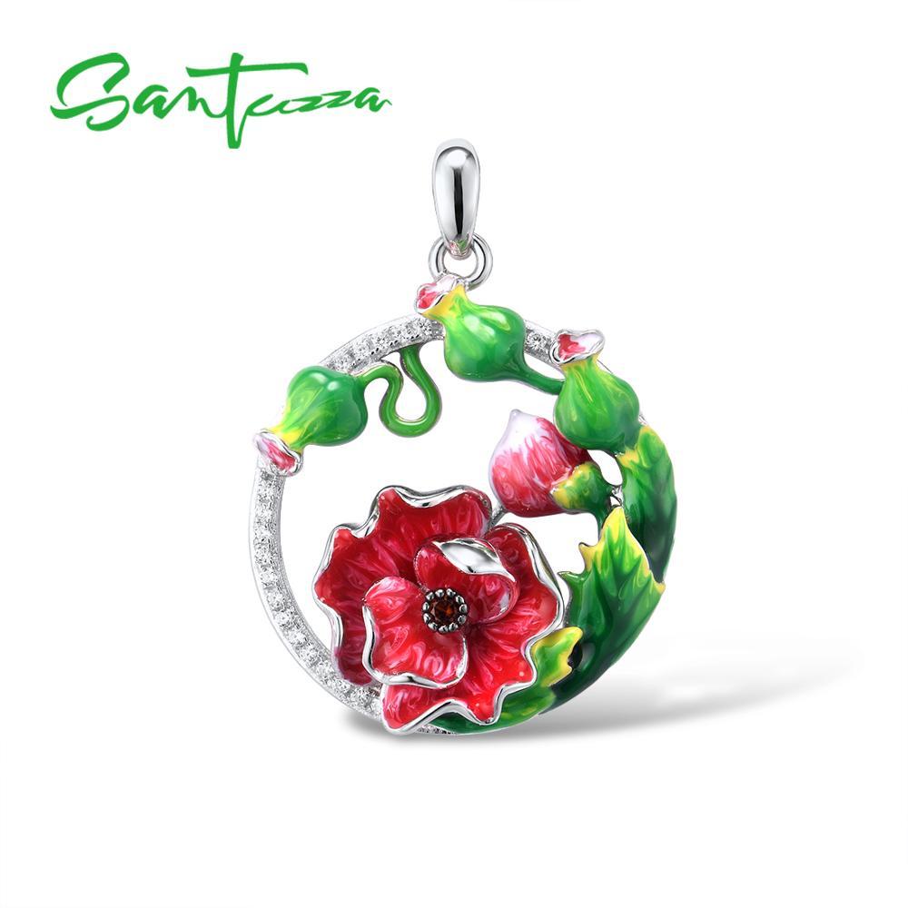 SANTUZZA Silver Pendant for Women Pure 925 Sterling Silver Elegant Red Flower Trendy Wedding Party Fine Jewelry HANDMADE Enamel