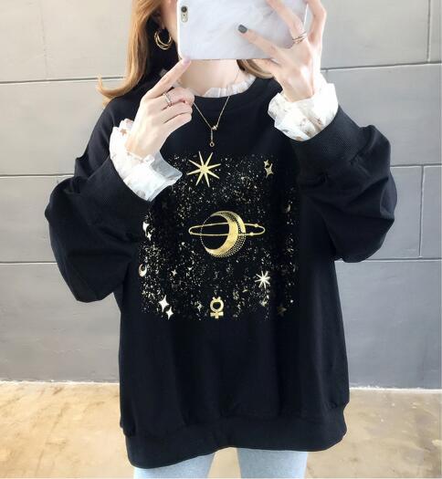 2019 otoño invierno cálido Vintage viejo planeta impreso nave espacial Arizona Star estampado mujeres jerseys sudadera negro