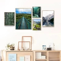 nordic mountain lake reflection wall art poster leaf forest plank road prints natural scenery canvas paintings living room decor