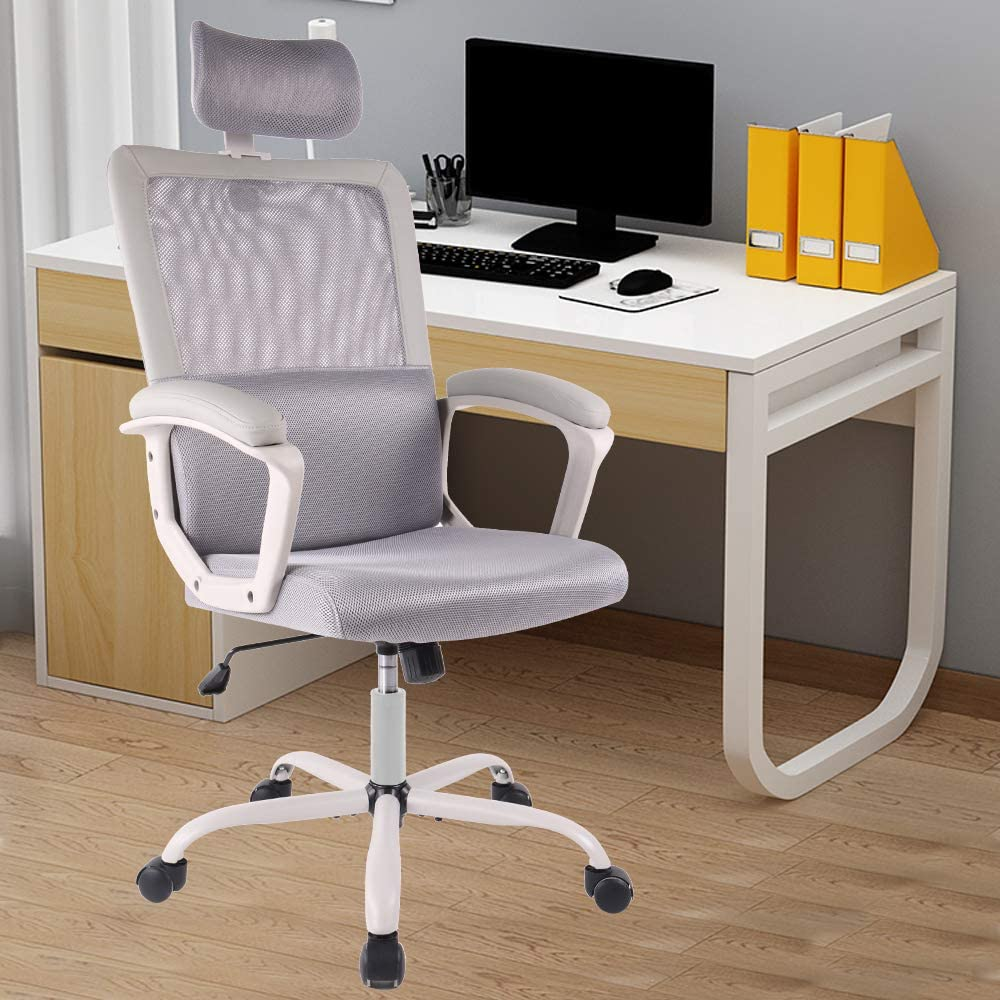 Home Office Chair Mesh Office Computer Swivel Desk Task Ergonomic Executive High Back Chair 27 x 21 x 8 inches  Grey & Black