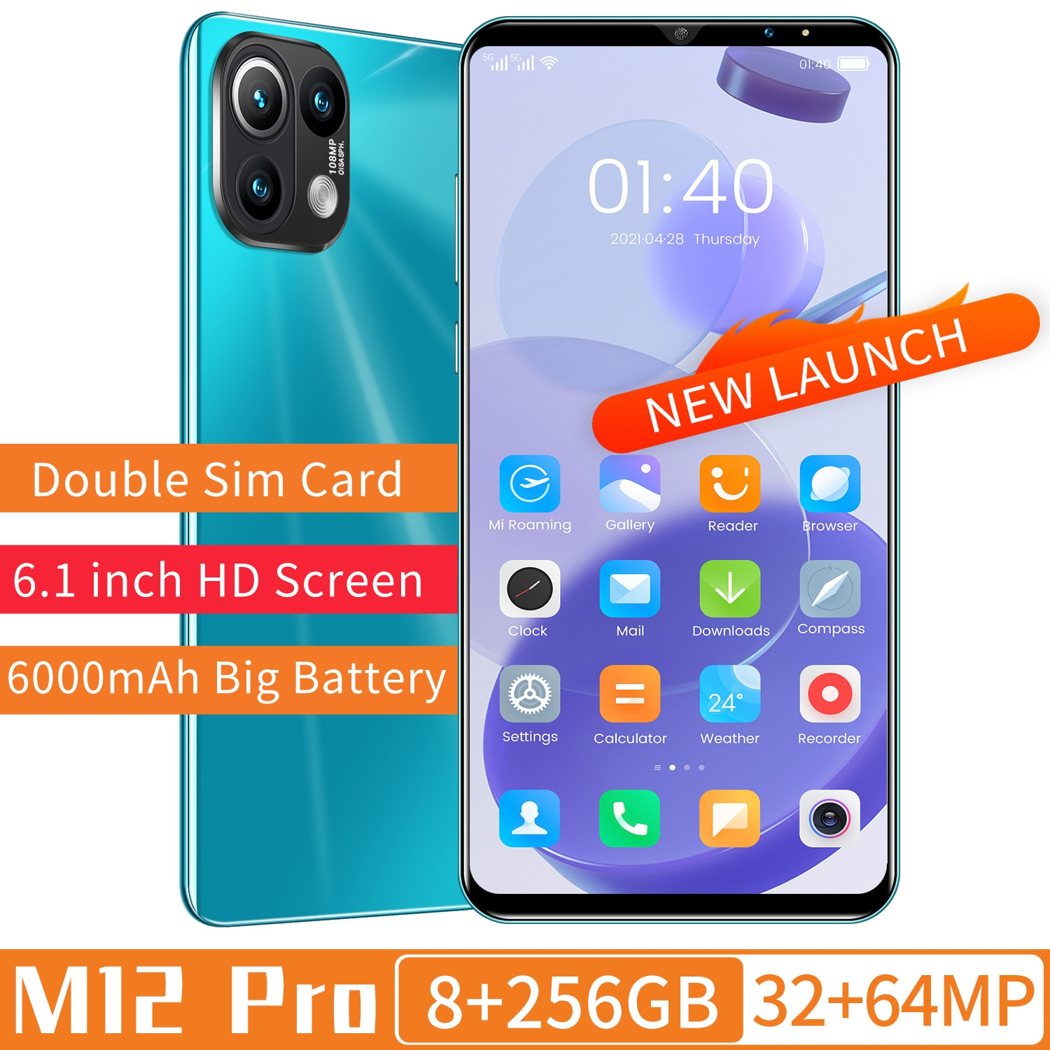 XIAOM12 Pro 1440*3200 8+256GB 6.1Inch Full Screen Android11 MTK6889 Deca Core 32+64MP Dual SIM Card 6000mAh Long Standby Face ID
