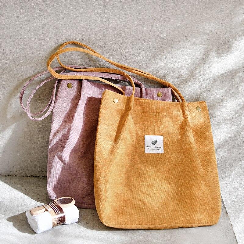 Sztruksowa torba na zakupy, torebki dla kobiet, płócienna torba na ramię, ekologiczna, przyjazna dla środowiska, wielokrotnego użytku, torebka tote      -
