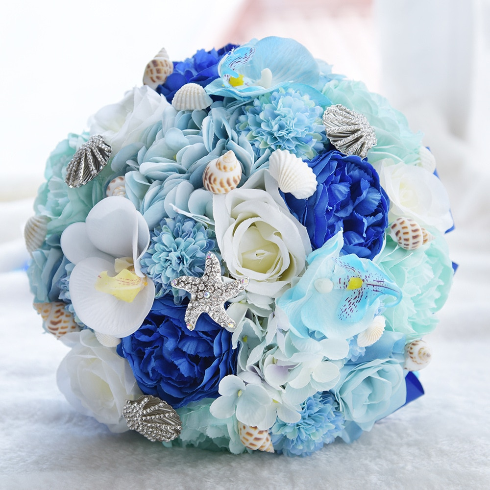 Luxury Wedding Bouquet Blue Flowers Rhinestones with Ribbon Artificial Bride Chaise Longue Roses