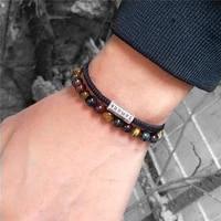feng shui genuine tiger eye stone beads bracelet men women woven thread rope lucky bangles black amulet healing tag bracelets