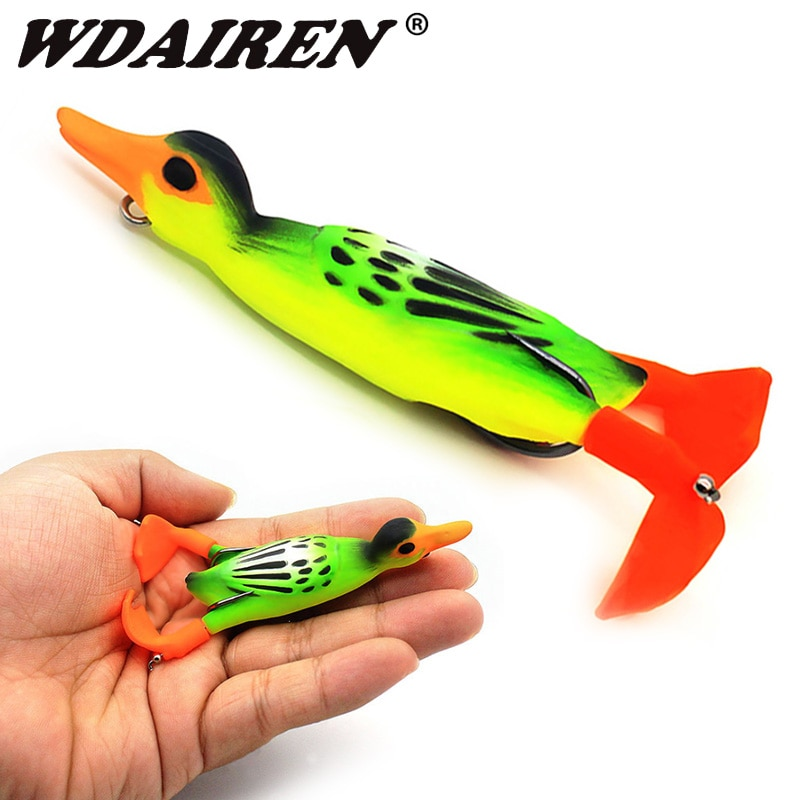 AliExpress - 1Pcs Double Propeller Frog Leg duck Soft Bait 95mm 12g Topwater Shad Jig Wobblers Fishing Lure Bait Artificial Silicone Lures