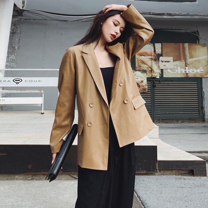 Vintage Soft Faux PU Leather Jacket Women 2021 New Spring Autumn Pure Color Double Breasted Leather Blazer Office Ladies Coats enlarge