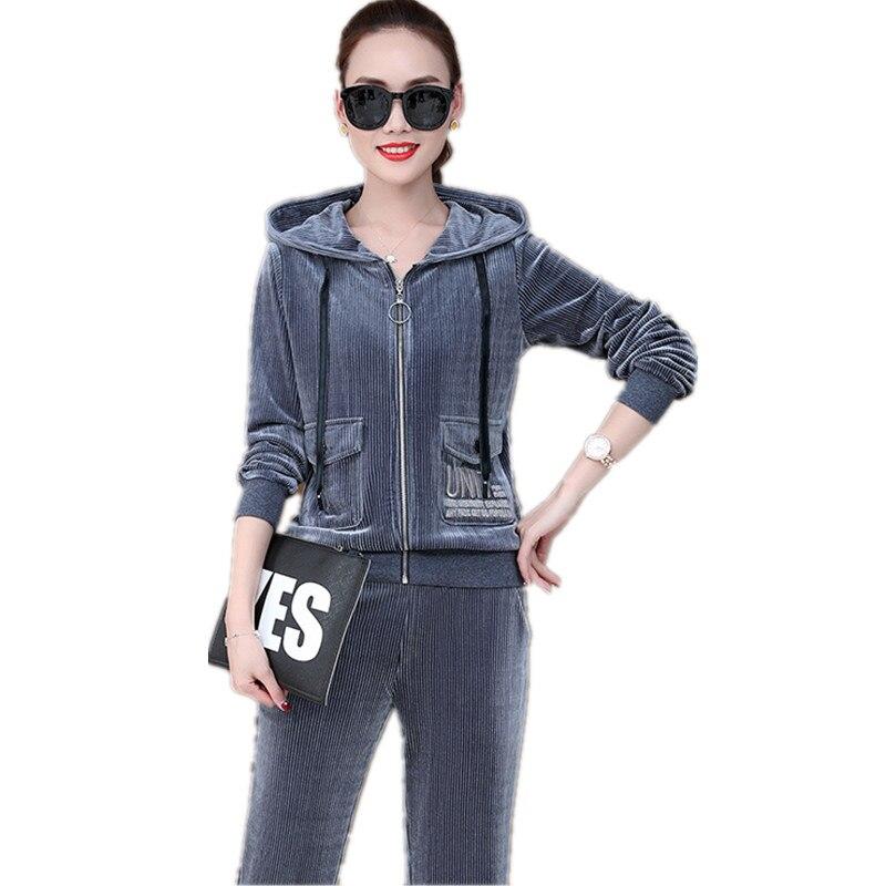 أعلى بيع المنتج في 2020 سيدة مجموعة ملابس الرياضية دعوى الإناث 2 قطعة مجموعة مقنعين كودري الترفيه قصيرة معطف + السراويل 1595