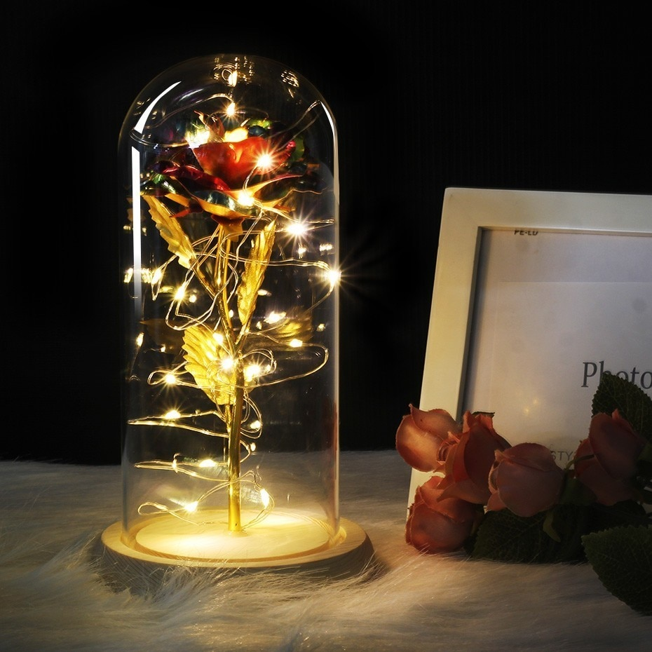 Belleza y la Bestia rosa roja en una cúpula de vidrio con Base de madera de luz Led para la madre de San Valentín regalos del día de