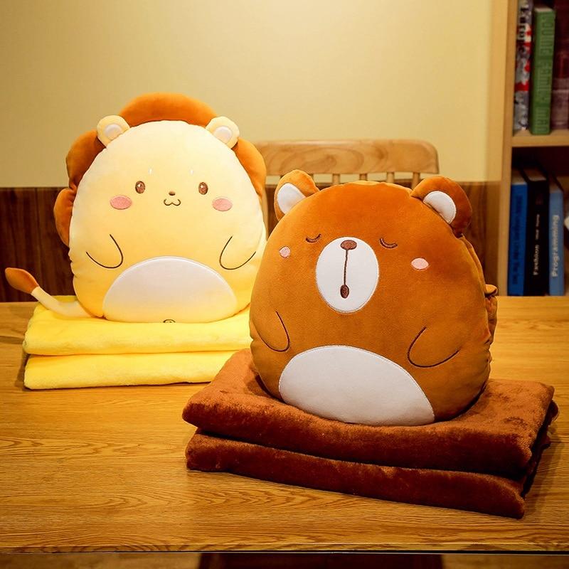 Variety Styles Bear&Lion&Rabbit&Unicorn Plush Pillow With Blanket Soft Cartoon Animal Dinosaur&Husky Stuffed Handwarm Doll Gifts