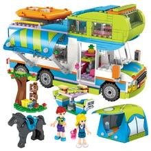 New Girl City Series Outing Camper Bus Car Model DIY Building Blocks Figures Friends Bricks Christmas Gift Girls Toys