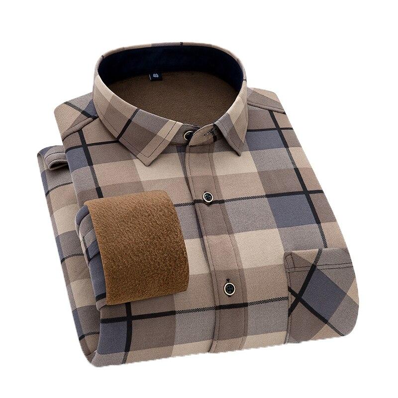 Мужская теплая рубашка с длинным рукавом Aoliwen, фланелевые рубашки в клетку, утепленные теплые и удобные рубашки большого размера на зиму