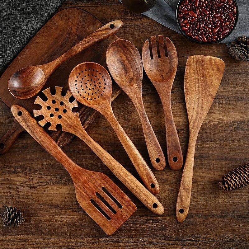 خشبية المطبخ أواني الطبخ ، 8 قطعة خشبية ملاعق و ملعقة للطبخ ، أنيق ، تجهيزات المطابخ للاستخدام المنزلي و المطبخ