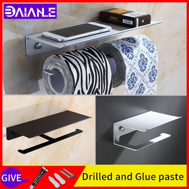 Soportes de papel de baño negro montado en la pared rollo de papel toallero sin tornillos dispensador de instalación hogar doble uso estante de teléfono móvil