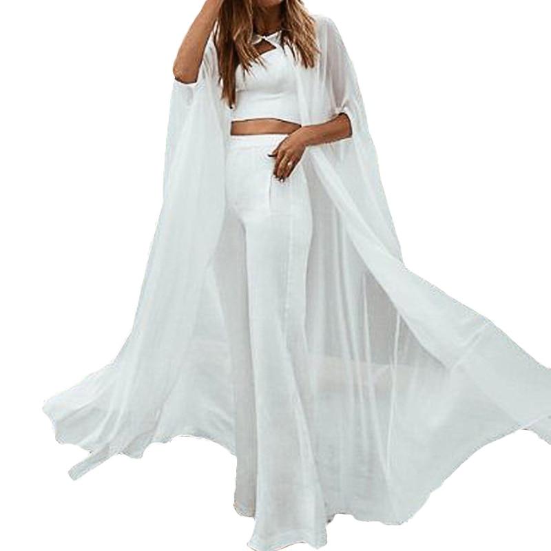 Chaqueta chal gasa playa novia vestido abrigo largo personalizado boda chal blanco/Marfil chal para novia