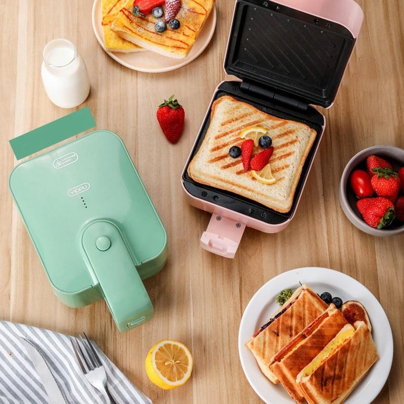 YIDPU ساندويتش آلة الإفطار آلة ماكينة الخبز المنزلية الصغيرة غير عصا طلاء محمصة