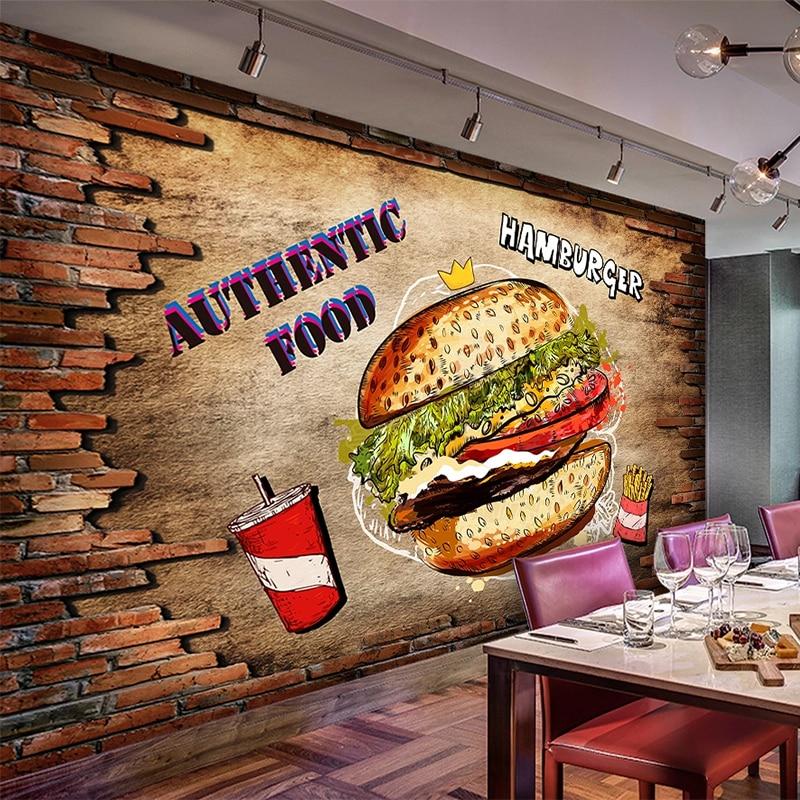PVC auto-adhesivo impermeable Mural papel pintado 3D pared de ladrillo hamburguesa comida rápida restaurante fondo de pared extraíble pegatina de pared