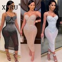 xuru sling dress womens hot rhinestone see through slim one piece sexy nightclub party dress